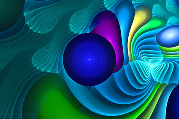 Fractal illustration of abstract background with circles and wav