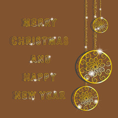 Golden snowflakes for Merry Christmas and Happy New Year. gold circles with pattern hanging on a gold chain