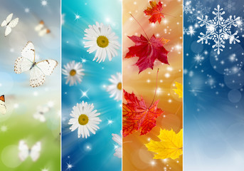 Collage of four seasons Wall mural