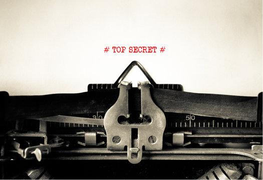 Top Secret typed on vintage typewriter