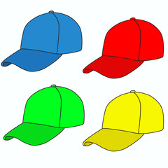set of colored caps outlined black outline