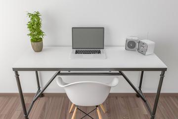 Desktop with open laptop