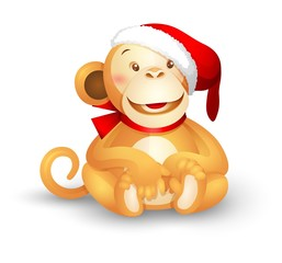 Christmas vector icon -- a cute toy monkey in a Santa Claus hat
