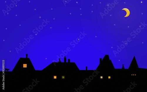"""""""Ночь, дома, крыши, кошки и трубы. Звездное небо, месяц ..."""