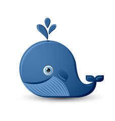 Blue whale character on white background