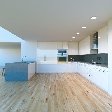 New decorated contemporary white Kitchen in luxury big home . 3D