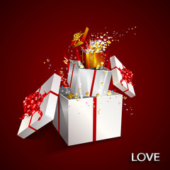 Present box inside present box on red background. Open gift with fireworks from confetti and hearts. Border design. Background for promotions and offers. Gift for Valentine's day. Festive action.