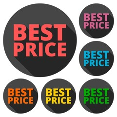 Best Price icons set with long shadow