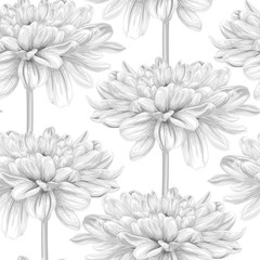 Beautiful monochrome, black and white seamless background with dahlia.
