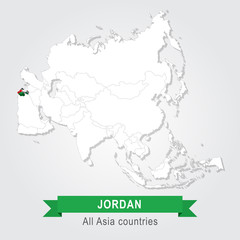 Jordan. All the countries of Asia. Flag version.