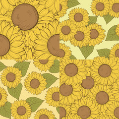 set of beautiful seamless background with sunflowers. Hand-drawn contour lines and strokes.