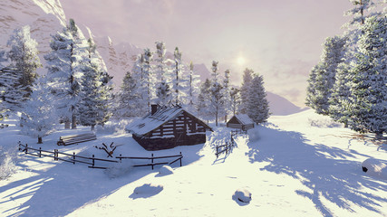 Snow-covered cozy little hut among spruce forest high in mountains at evening time