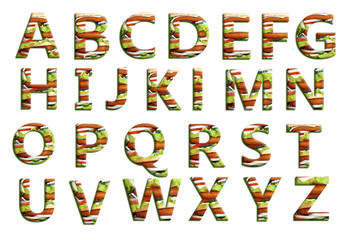 English alphabet with burger design