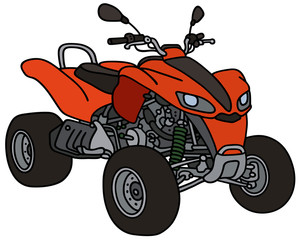 Red all terrain vehicle / Hand drawing, not a real type