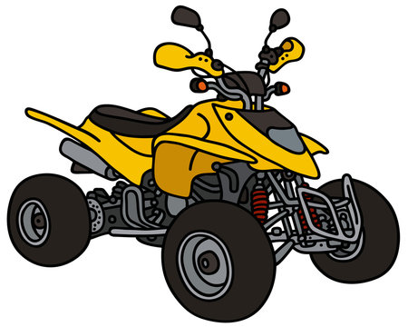 Yellow all terrain vehicle / Hand drawing, not a real type