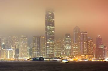 Fototapete - Hong Kong at foggy night