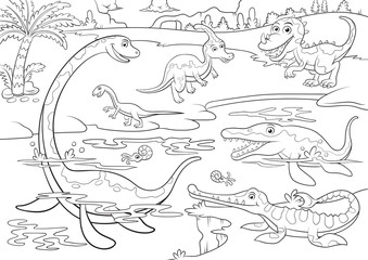 illustration of cute dinosaurs cartoon character for coloring