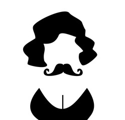person with mustache and cleavage