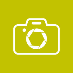Camera Shape with Shutter Symbol Colored Background