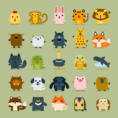 Cute animal vector icons set