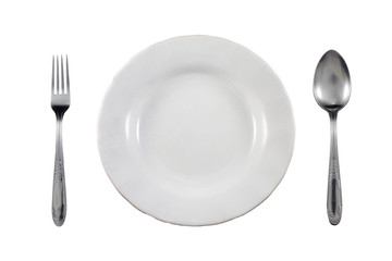 spoon and fork on white background