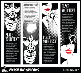 Black and white Vector banner. Girl with a gun. In the eyes of t