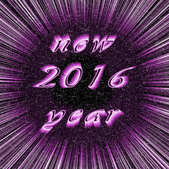 Festive New Year 2016 image in centre of purple fireworks