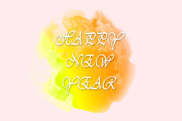 Italic white New Year greetings on bright yellow watercolor spot