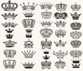 Set of vector high detailed crowns for design