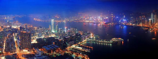 Fototapete - Hong Kong aerial night