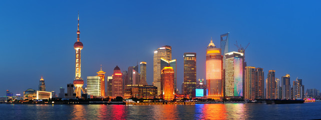 Fototapete - Shanghai at night