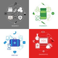 Medical Design Concept Icons Set