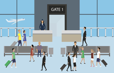 Airport passenger terminal illustration