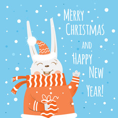 Christmas card with cartoon hare  holding a gift. Vector image.