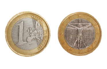 set one euro coin isolated on white background
