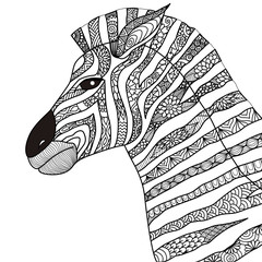 Hand drawn zebra zentangle style for coloring book,tattoo,t shirt design,logo