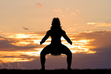 Maori dance at sunset