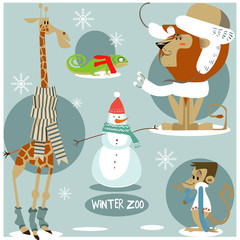 set of wild animals in winter clothes