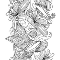 Vector abstract seamless border. Doodle wavy decorative element.