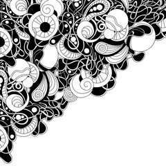 Doodle black and white abstract hand-drawn decorative border.
