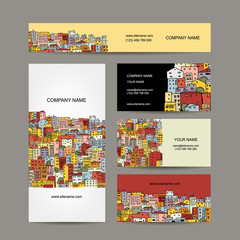 Business cards design, cityscape background