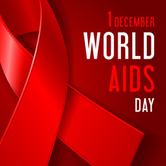 World AIDS Day concept poster with red ribbon of AIDS awareness (symbol for solidarity with HIV-positive people) and text on dark red background.