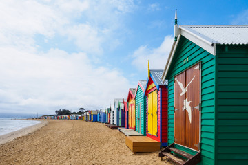 Colorful bath houses, Brighton Beach in Melbourne