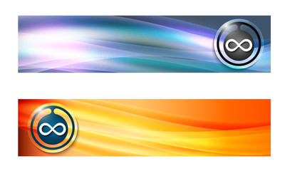 Set of two banners with waves and infinity symbol