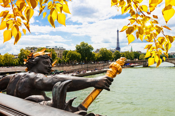 View on Seine River and Eiffel Tower from Alexander III bridge (
