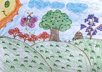 Desenho infantil de campo