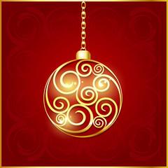 Поздравительная открытка с изображением елочного украшения-золотого шара с узором внутри. Векторная иллюстрация.