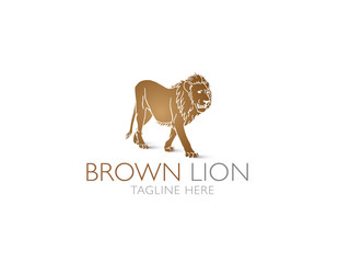 Brown lion vector logo on white