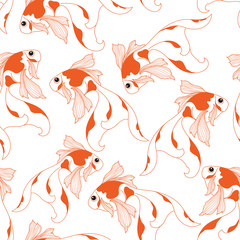 Goldfish pattern. Seamless pattern background.