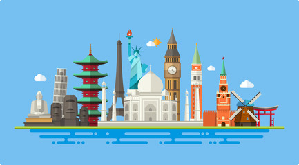 Illustration  of flat design postcard with famous world landmark Wall mural